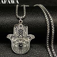 Black Color Hamsa Hand Men Silver Stainless Steel Necklaces Necklace Pendants