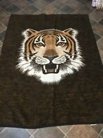 Vtg Biederlack Tiger Head Blanket Throw Reversible 56 x 74 *READ*