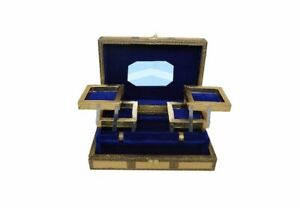 Large Indian Style Rustic Gold Embossed Metal Locking Jewellery Box