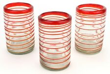 Mexican Red Rim Spiral Tumbler Glasses Hand Blown Drinking Set of 3 (497)