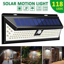 Solar Powered Wall Light Motion Sensor Security Lamp 118 LED Outdoor Garden