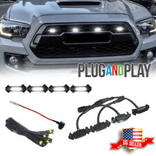 4X Raptor Style White LED Lamps Front Grill Lights Kit For 2016-up Toyota Tacoma