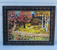 """Handpainted Cabin In The Woods Oil Painting On Canvas (1976) 10"""" X 13"""""""
