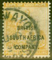 Rhodesia 1896 1s Yellow-Ochre SG64 Good Used