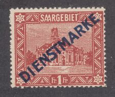Saar Sc O15 MNH. 1922 1fr Official w/ type 1 Blue Overprint, top value to set