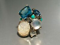 STEPHEN DWECK STERLING SILVER BLUE QUARTZ, MOONSTONE, TURQUOISE RING SIZE 5