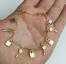 "14K Gold Filled Key Lock Anklet 10"" Long/ Tobillera De Llave Y Candado 10"" - A4"