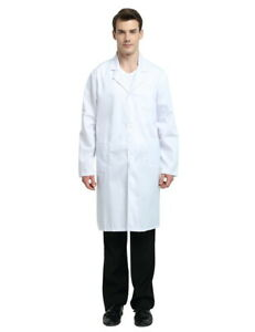 TopTie Men Women White Lab Coat with 3 Pockets Long Sleeve Role Play Costume