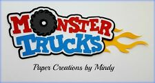 Craftecafe Mindy Monster Trucks Die Cut premade paper piecing Title scrapbook