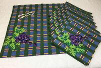 Nine Large Dinner Napkins, Cotton, Printed Design, Grapes, Rectangles, Leaves