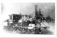 Early LVRR Lehigh Valley Railroad Steam Engine 66 Delano PA Silver Halide Photo