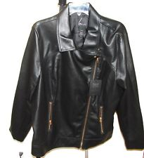 de66a8a1b8d WOMENS 22 24 BLACK FAUX LEATHER MOTORCYCLE JACKET NEW WITH TAGS  119