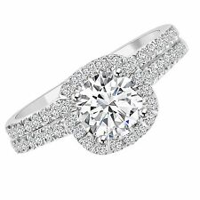 2 CT ENHANCED DIAMOND ENGAGEMENT RING SET ROUND D/SI1 14K WHITE GOLD SIZE 5 6 7