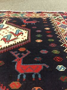 On Sale Beautiful Hand Knotted Vintage Deer Design Area Tribal Rug 3'5x5'2,#3116
