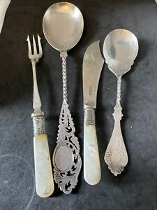4 ITEMS SILVER PLATE EPNS MOP MOTHER OF PEARL CUTLERY PICKLE FORK JAM SPOON ETC.