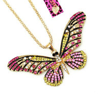 Betsey Johnson Crystal Rhinestone Cute Butterfly Pendant Sweater Chain Necklace