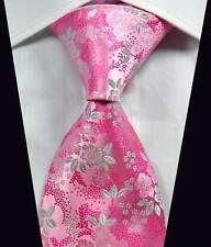 New Classic Florals Pink White JACQUARD WOVEN 100% Silk Men's Tie Necktie
