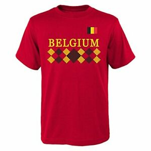 """World Cup Soccer Belgium Men's """"One Team 2018"""" Tee, Red, Mens Small"""