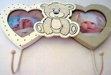 Baby Gift Teddy Bear Design 2 Hook Wall Hanger With Photo Frames Nursery Decor