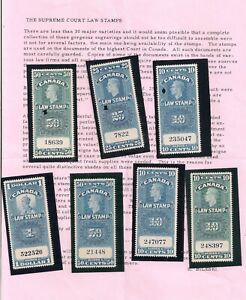 EARLY CANADA USED+MINT KGV AND KGVI SUPREME COURT LAW-STAMPS LISTED IN VAN DAM