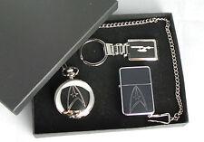 Star Trek, Gift Set, Silver Plated Half Hunter Watch, Keyring & Petrol Lighter