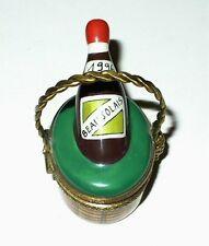 Limoges Box ~ Parry-Vieille - 1996 Beaujolais Wine Bottle & Basket ~ Peint Main