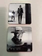 SET OF TWO NEW JOHN WAYNE CORK BACKED MOVIE COASTERS PRINTED IN BLACK AND WHITE