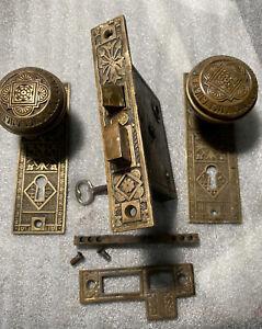 Antique Authentic Barrows Lock Co, Set Door Lock Doorknobs, Backplates #2