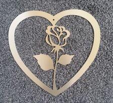 Herz mit Rose- Edelstahl- Wandschild- Laserzuschnitt