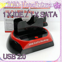 "All in 1 USB Dual SATA IDE 2.5""/3.5"" Hard Disk Drive HDD Dock Station Caddy Case"
