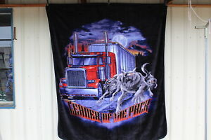 SEMI TRUCK WOLF WOLVES LEADER OF THE PACK TRUCKER QUEEN SIZE BLANKET