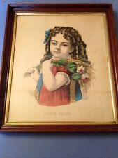 Antique Currier & Ives Little Daisy Young Girl With Flowers Lithograph