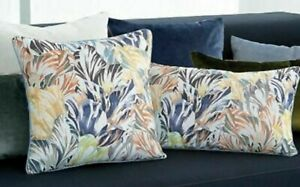 Iosis Yves Delorme Folies Floral Square Throw Pillow Cover Grey French Cotton