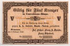 ~ Austria BRAUNAU 5 KREUZER BANCONOTA - 1849 ~