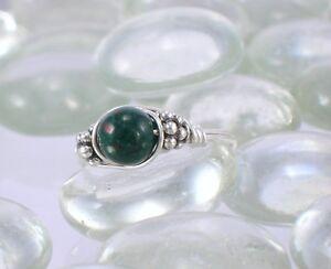 Heliotrope Bloodstone Sterling Silver Bali Bead Ring