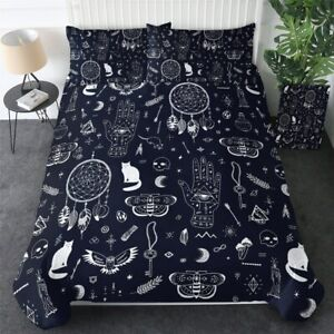 Owl Magic Moon Witchcraft Black King Queen Twin Quilt Duvet Pillow Cover Bed Set