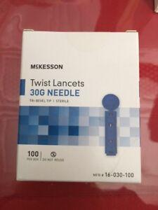 8 Boxes of MCKESSON Twist Lancets Sterile 30G Needle, 100 per Box