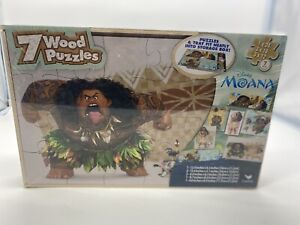 NEW Disney's Moana 7 Wood Puzzles In Wooden Storage Box NEW