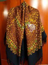 Large Russian Pavlovo Posad Wool Shawl Scarf Fringe Leopard / Animal Print