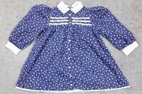 Vtg Cinderella Toddler Floral Eyelet Collar Prarie Dress Size 4 USA