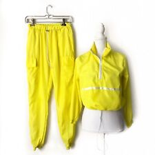 Womens 2 Piece Neon Yellow Track Suit Pants Pullover Size XS/S Drawstring #tn 3