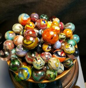 VINTAGE GLASS MARBLES JABO 86 MARBLES D.A.S. INVESTOR COLLECTION 3 day 0.99 NR