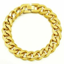 Deluxe Curb Chain Bracelet Solid Stainless Steel Yellow Gold Plated Men's Gift