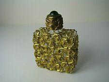 CHINESE EXPORT ORMOLU BRASS GLASS PERFUME BOTTLE SCENT FLASK GREEN QUARTZ c1900s