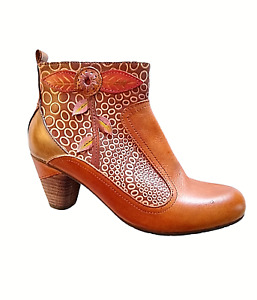 Spring Step PARFUM L'Artiste Collection Camel Multi Leather Boots Size 6.5 (37)