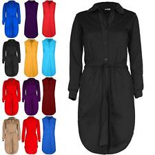 Ladies Womens Belted Button Down Long Sleeve Oversized Collared Mini Shirt Dress
