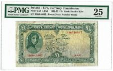 Ireland 1 Pound, Currency Commission 1937, P-2Ab Ltn9, Pmg 25 Vf, Rare Date