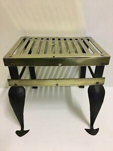 Antique Georgian Brass Iron Fireplace Footman Stool Trivet Pot Plant Stand QP242