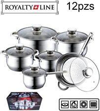 Bateria de cocina juego de ollas 12pzs piezas ROYALTY+LINE INDUCCION GAS VITRO