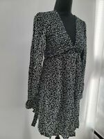 Wild Fable Womens Black Floral Long Sleeve V Neck Pullover Mini Dress Size XS
